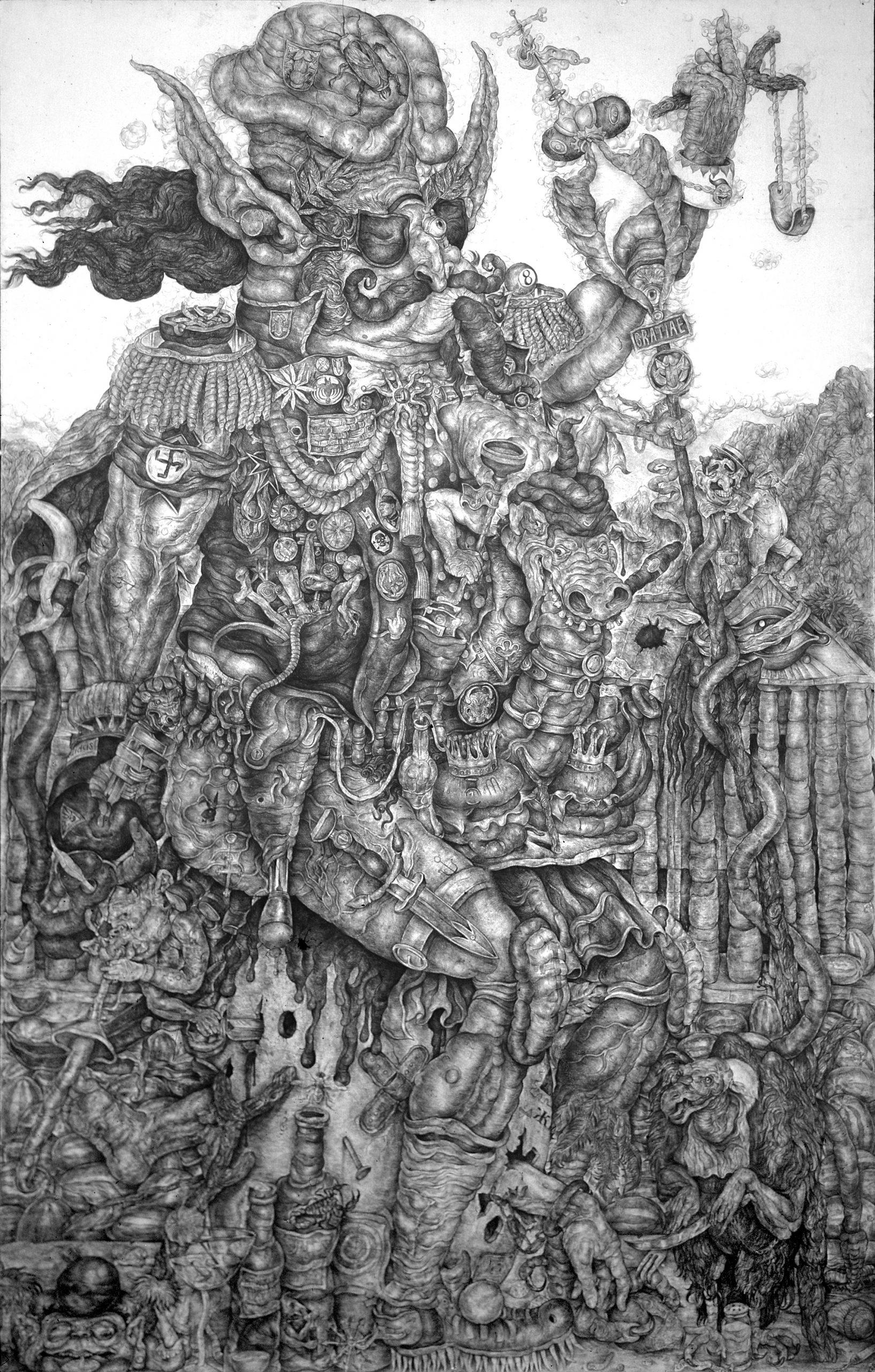 """Flores, """"El Gran General"""", 79″x50″"""